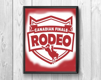 Rodeo, logo, Canadian final, poster walls, instant downloads, rodeo cowboy, horse broncing