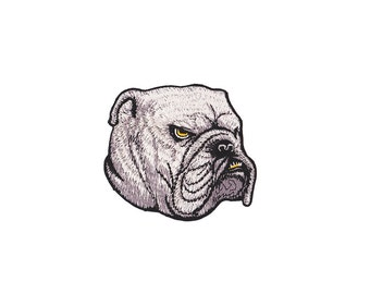 Dog  Patch - Bulldog  Embroidered Iron on Patch - Bulldog Iron on Applique