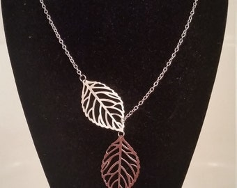 Free Shipping Gold or Silver Plated Leaf Lariat Necklace