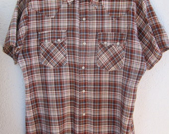 Vintage Men's Pearl Snap Shirt DC Dee Cee Brand Authentic Western Wear, Orange White and Blue Plaid Short Sleeve Large Size 16-35