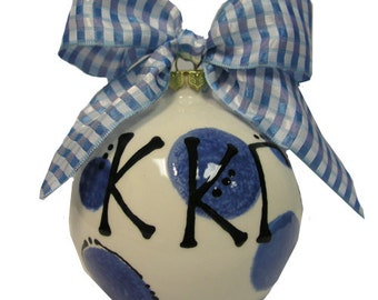 KKG  Kappa Kappa Gamma Sorority Hand Painted Ceramic Christmas Ornament.