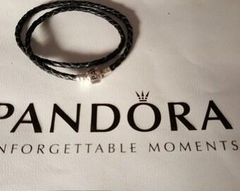 Pandora Black Braided Leather Bracelet  590705CBK-D