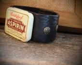 Rustic Black Leather Cuff Vintage Aspirin Tin Upcycled Repurposed