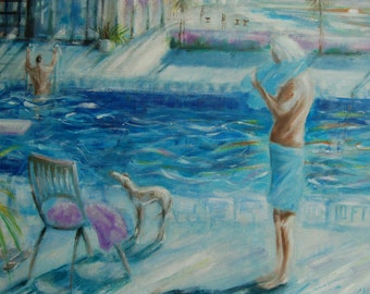 "Original acrylic painting .Last swim of the Day ,Palm Springs 27.5""(original)"
