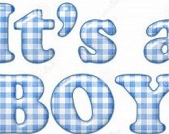 """Phrase """"It's a boy"""" Applique 3 sizes"""