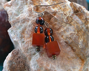 Carnelian Block Earrings
