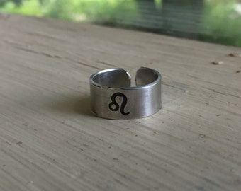 Leo Ring - Horoscope Ring - Zodiac Jewelry - Zodiac Ring - Astrology - Adjustable Stamped Ring