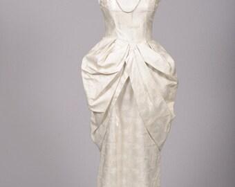 1960 Satin Peplum Vintage Wedding Gown