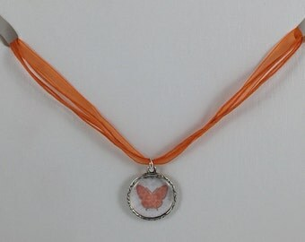Butterfly Necklace with Orange Ribbon