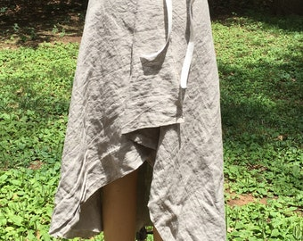 THE Linen wrap skirt in Natural
