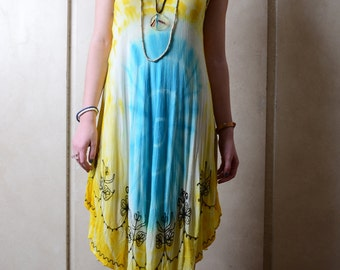 Yellow and Blue Hippy Tie Dyed Dress