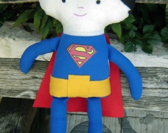 Superman Fabric Doll, Green Superman Fabric, Superman Doll, Superman Softie, Baby Superman, Super Hero Doll
