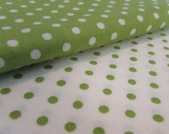 Polka Dot Fabric/Yardage Bundle/Bundle of Two/ 1 1/2 + Yards Total/Quilting Weight Cotton, 100% Cotton