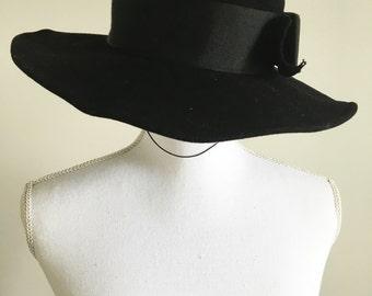 Vintage 70s Mr John Black Wool Hat with Bow