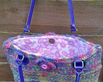 Handmade fully lined knitted bag