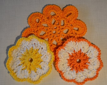 Set of Three Colorful Crocheted Coasters!