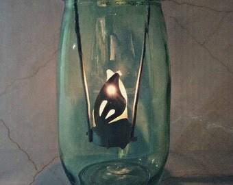 Mason Jar Centerpiece Tealight Candle Holder, Country Lantern, Shabby Chic Decor, Outdoor Garden Decoration, Mason Jar Centerpiece