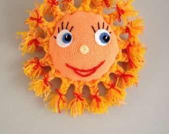 Crochet toy smile sun, kids toy, baby gift, handmade gift, wall decor, baby room decoration, photo prop