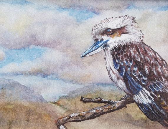 Kids Wall Art Print Kookaburra from an original watercolour painting by Corinne Dany / Animal Print /  Kids Room / Kookaburra /Gift