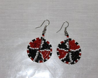 Red black and White disc shaped beaded earrings