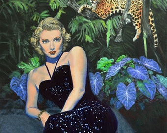 Jungle Hideout - Original Leopard Painting Lana Turner Jane Ianniello