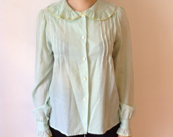 pale green 70s blouse