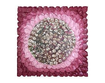Red flower art deep texture impasto original painting 20x20 FREE SHIPPING