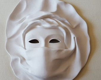 Blank Italian porcelain mask for decorating + Free bonus blank