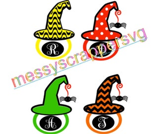Witch monogram hat with single letter MONOGRAM FONT for HALLOWEEN- SvG digital file for silhouette cameo designer edition & cricuit explore