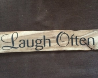 Laugh Often Home Decor/ Rustic Sign/ Reclaimed Wood/ Pallet Wood/ Repurposed Wood/ Rustic Wood Sign/ Inspirational Art