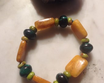 Yellow jade & Malachite Bracelet