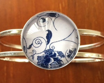 Blue Flower Bird Cuff Bracelet Bangle