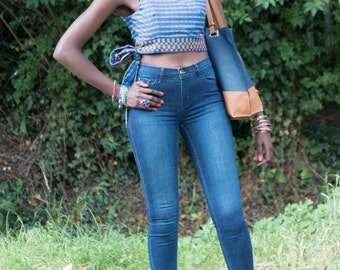 African print crop top, African top, Ankara crop top