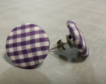 Fabric button checked earrings, stainless surgical steel post studs