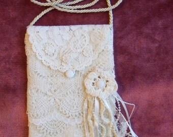 Antique Style Boho Vintage Layered Lace Shoulder Purse/Bag - Handmade - OOAK