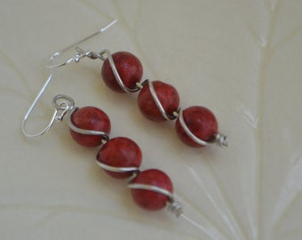 Deep red coral wire wrapped dangle earrings