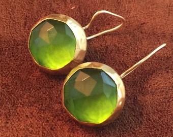 stunning green agate drop earrings set in gold vermeil