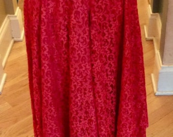 vintage 1950s fire engine red lace full circle skirt