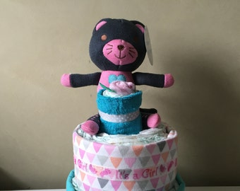 Cute Kitten Nappy Cake Baby Girl