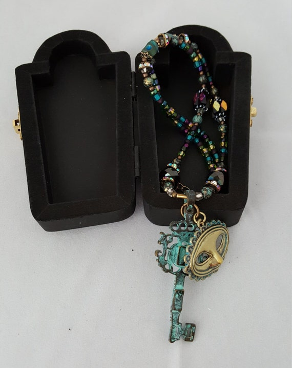 Sugar skull Mardi Gras Masquerade necklace with coffin keepsake jewelry box