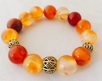 12mm Amber Agate Bracelet + 10mm & 8mm Gold tone Spacers
