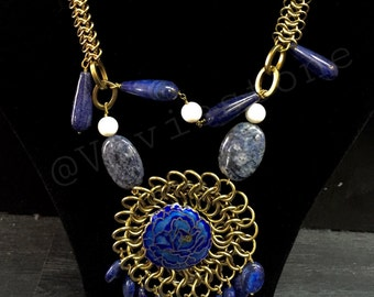 Necklace, Lapis Lazuli Necklace, Semi-Precious Stones, Golden Flower Necklace, Sodalite, White Coral Stone