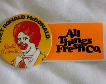 Vintage 80s RONALD MCDONALD Button