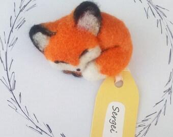 Handmade felted brooch Fox