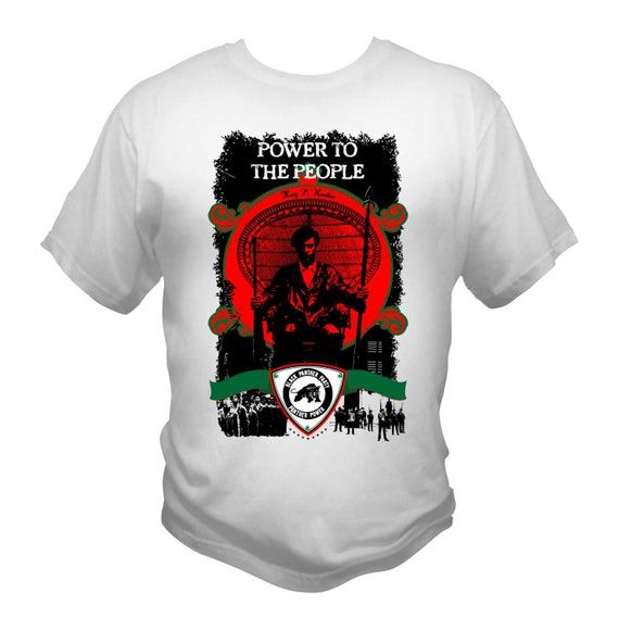 Black Panther Party White T-Shirt Power To The People Malcolm X Huey P. Newton