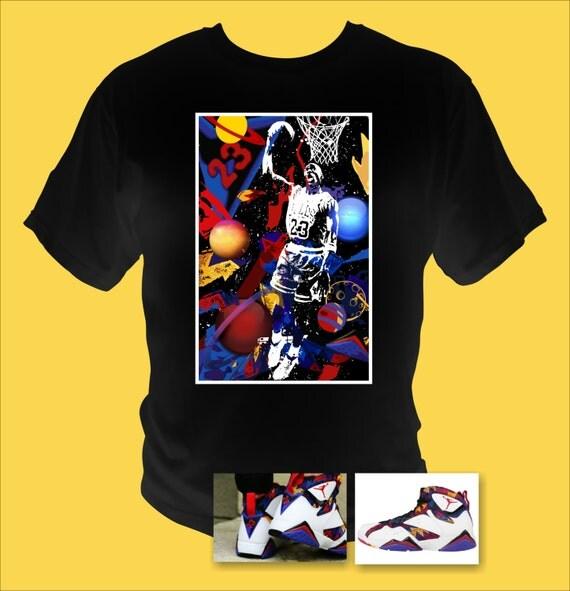 Men's Air Jordan Retro 7 Basketball Sweater black T-Shirt Abstract Art Made to Match Shoes