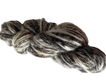 Handspun yarn, British Jacobs Wool Chain/Navajo ply Art Yarn, natural, undyed, white, brown, grey, black, 178yards knitting crochet weaving