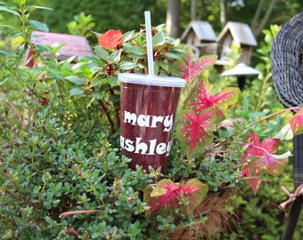 Personalized Glitter Tumbler with Lid and Straw