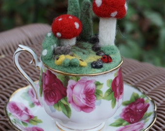 Felted forest in teacup