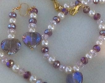 Purple Hearts/Pearl Earring and Bracelet